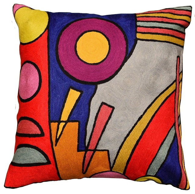 Kandinsky Decorative Pillow Cover Composition Vi Hand Embroidered Wool 18x18 Contemporary Decorative Pillows By Kashmir Fine Arts Crafts Houzz