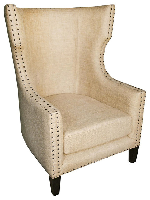 Sinclair French Country Burlap Nailhead Wing Back Accent Chair  Traditional Living Room Chairs