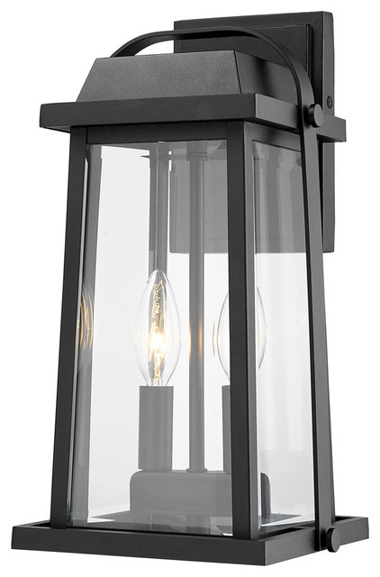 Millworks 2-Light Outdoor Wall Sconce, Black