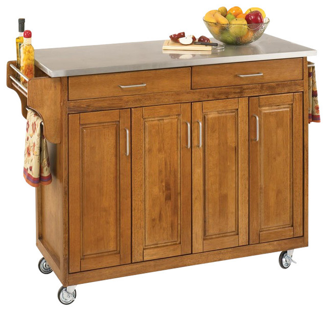 Create A Cart Cottage Oak Finish With Wood Top