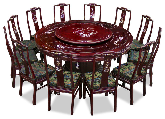 72 rosewood pearl inlay design round dining table with 12 for Oriental dining table