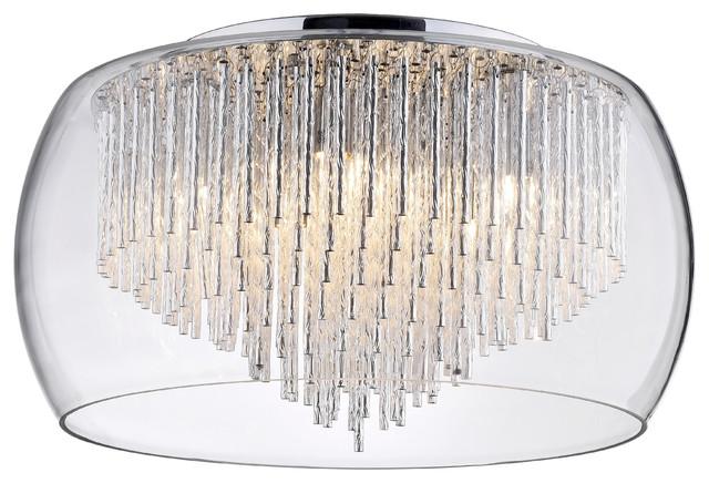 5 Light Glass Bowl Ceiling Flush with Aluminium Rods