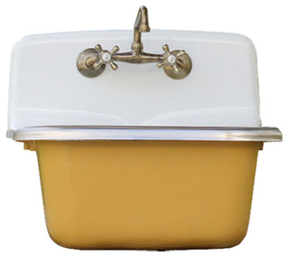 Deep Vintage Style Wall Utility Sink Cast Iron Orig Porcelain India Yellow Set Contemporary