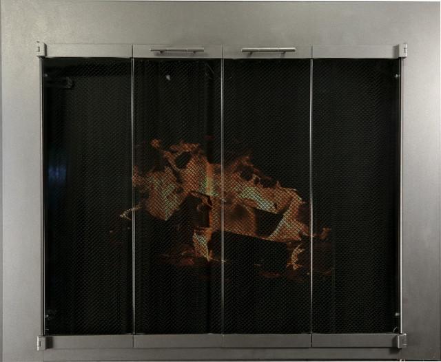 Ironhaus Hawthorne Bifold Fireplace Door With Sliding Mesh Burnished Bronze
