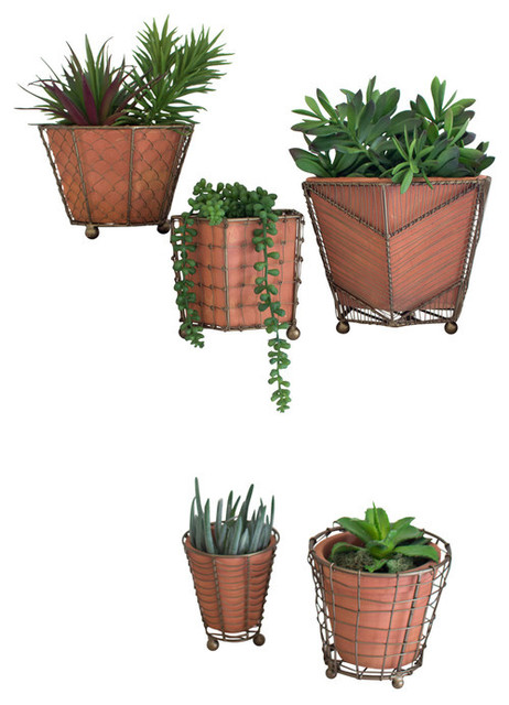 Gwg Outlet Terracotta Planters With Wire Wrap And Br Detail Set Of 5