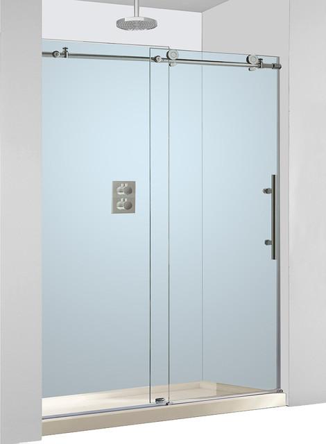 Woodbridge Frameless Brushed Stainless Steel Sliding Shower Door
