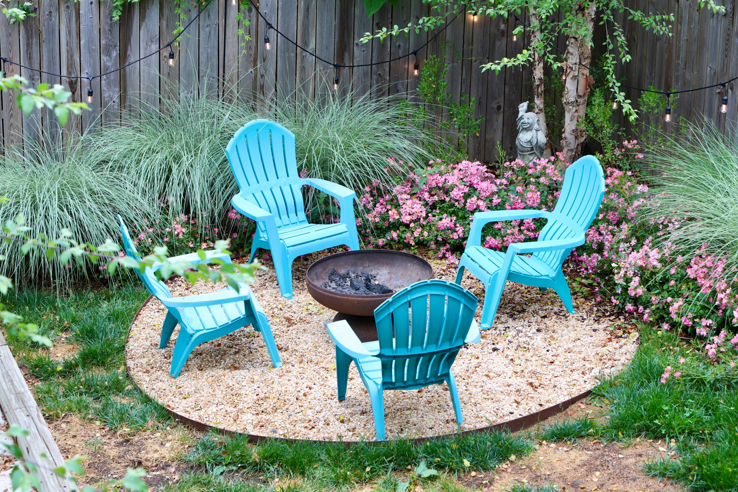 Colorful front yard, dog friendly backyard.