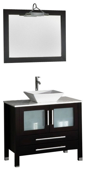 """Contemporary Cappuccino Connect It Computer: Canton 36"""" Espresso Wood And Porcelain Single Vanity Set"""