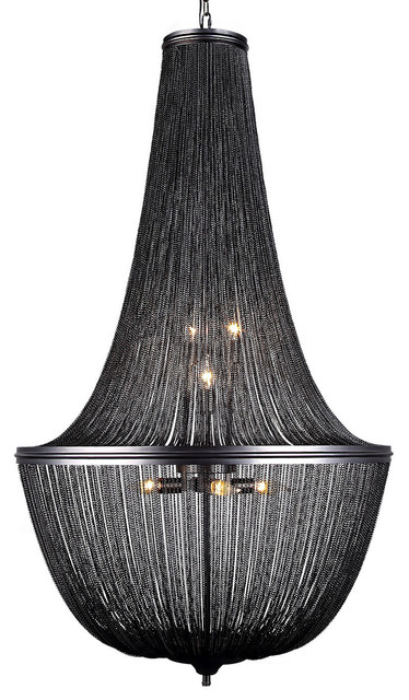 French Empire-Style Chainmail 10-Light Chandelier, Dark Gray, With LED Bulbs
