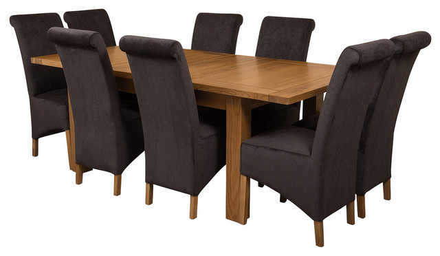 Awesome Seattle Oak Extending Dining Table 8 Montana Chairs Black Velvet Effect Download Free Architecture Designs Viewormadebymaigaardcom
