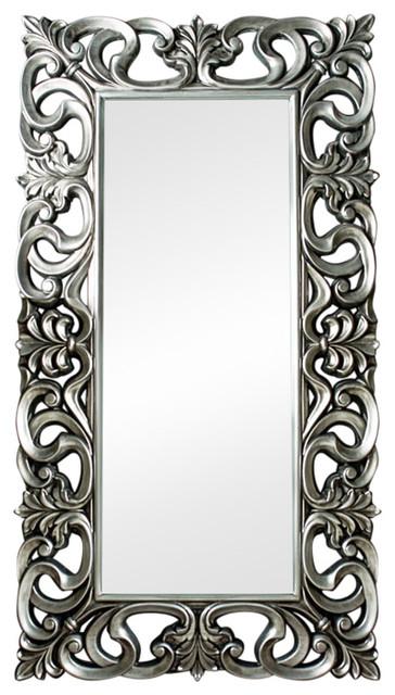Large Ornate Silver Wall / Floor Mirror 90cm x 168cm