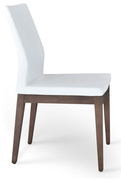 Wooden low back chair white contemporary dining for Modern low back dining chairs