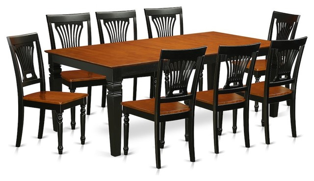 9 Piece Table And Chairs Set With A 8 Dining Cherry Black