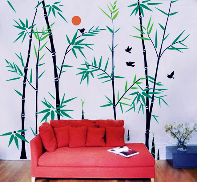 Bamboo Forest With Flying Birds Wall Decal Modern Wall Decals - Wall decals birds