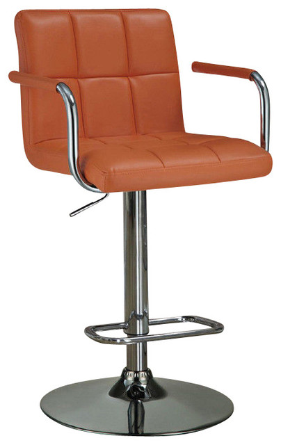 Adjustable Leather Like Vinyl Seat Foot Rest Chrome Base