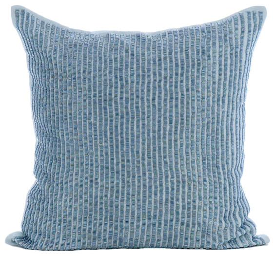 Blue Beaded Throw Pillow : Blue Striped Beaded Cotton Linen Pillow Covers, Misty Blue - Modern - Decorative Pillows - by ...
