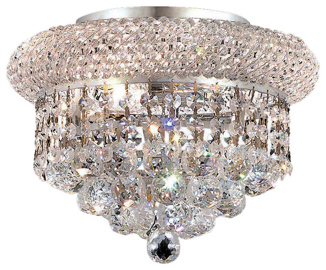 Primo 3-Light Flush Mount, Chrome, Royal Cut Crystal, Clear.