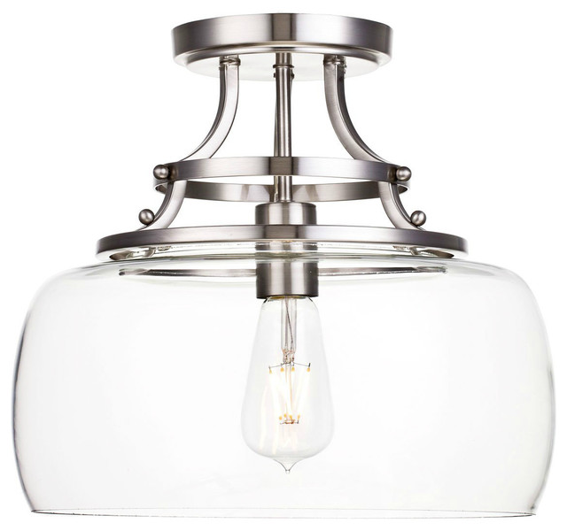 Modern Glass Pendant Light Large Glass Shade Ceiling Fixture With Satin Nickel.