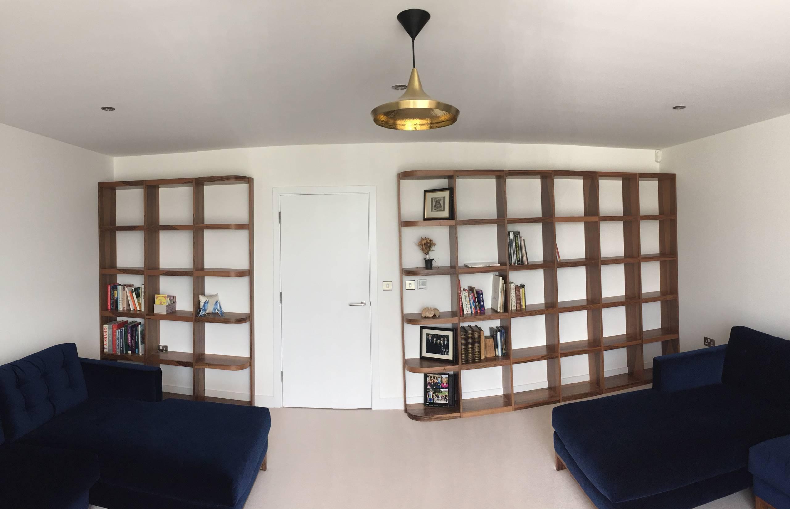 Natural Walnut veneer living room bookshelf unit