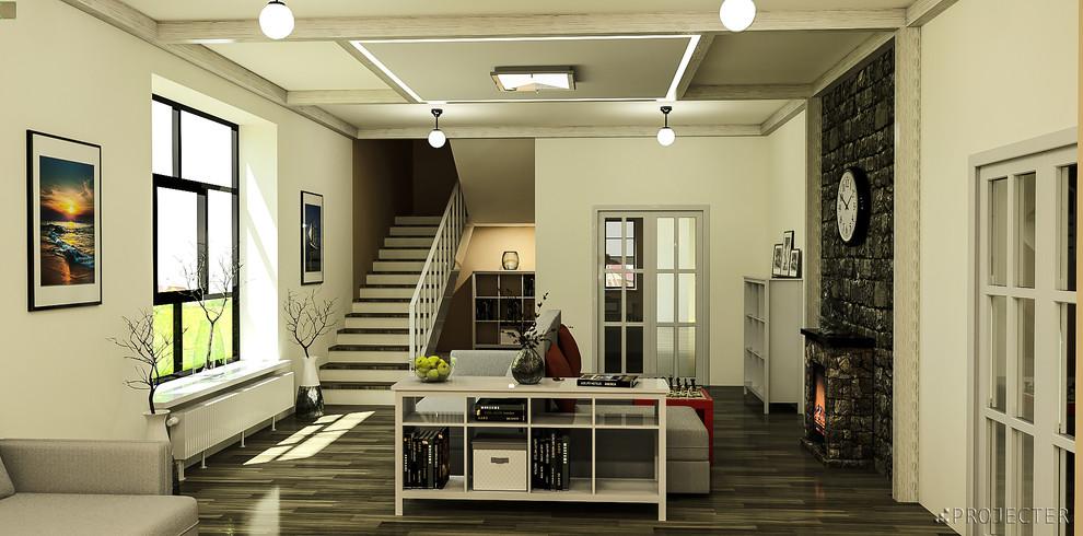 Скандинавская гостиная в частном доме: каминная и витражная зоны
