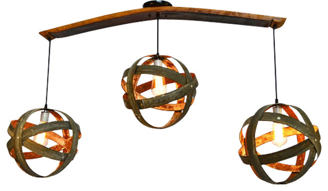 Atom Trilateral Flush Mount Barrel Ring Chandelier