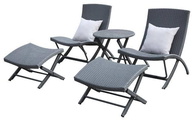 Quinoa Patio Lounge, 5 Piece Set Tropical Outdoor Lounge Sets