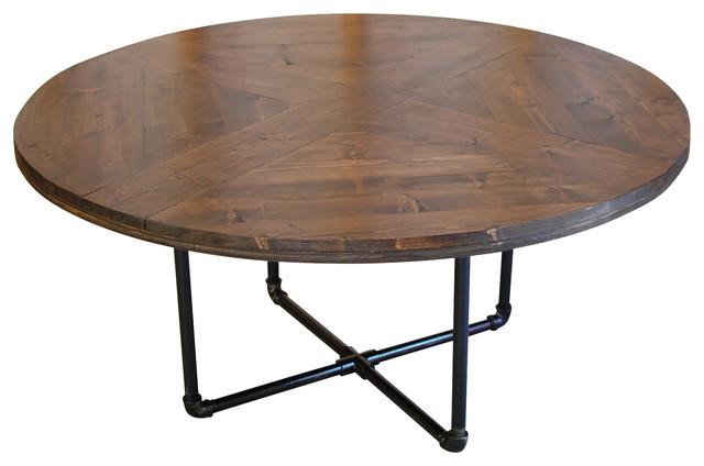 Round Pattern Industrial Rachela Coffee Table Industrial