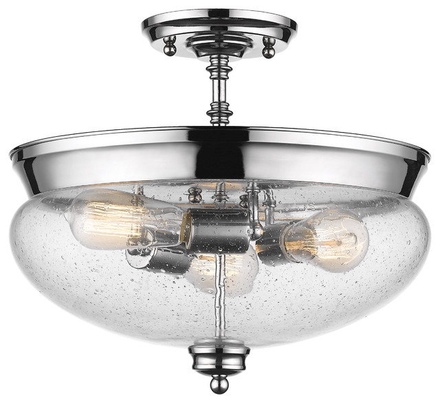 Amon 3-Light Semi-Flush Mount, Chrome, Clear Seedy Glass.