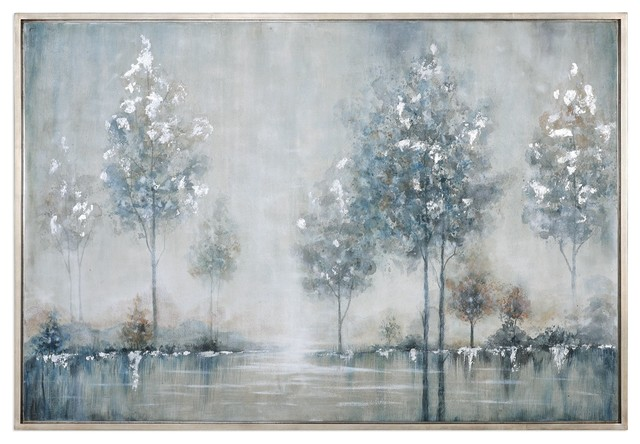 Silver Blue Trees Water Wall Art Lake Painting