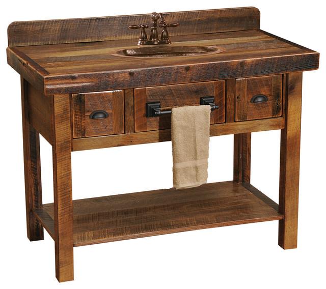 Barnwood Freestanding Open Vanity Shelf Two Drawers Without Top Barnwood Legs Bathroom