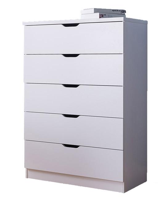 5 Drawers Chest Dresser, 5 Drawers, White.
