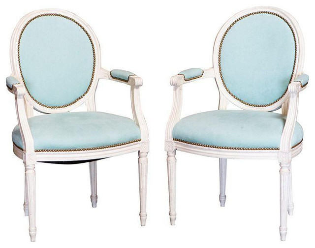 Superieur Louis XVI Arm Chairs With Teal Upholstery   A Pair