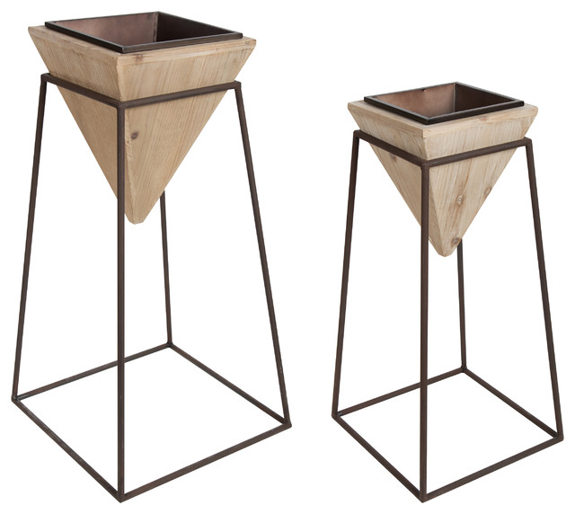 Theah Decorative Planter Stands With Pots, Set Of 2, Wood And Bronze.