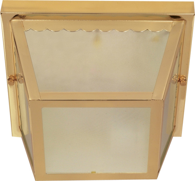 "2 Light - 10"" Carport Flush Mount- With Textured Frosted Glass"