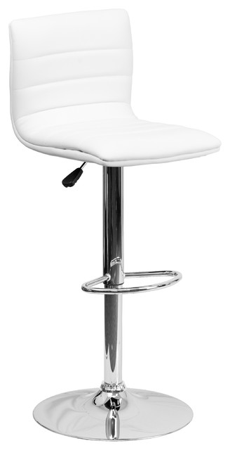 Racer Adjustable Stool With Chrome Base, White