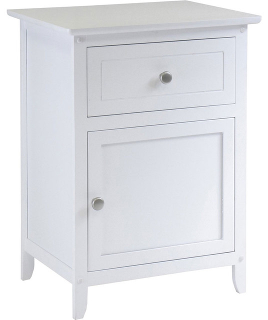 Bed Side Cabinet and Drawer - White by Winsome