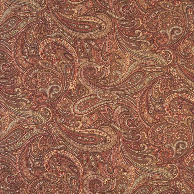 Orange Red And Gold Paisley Contemporary Upholstery Grade Fabric By The Yard