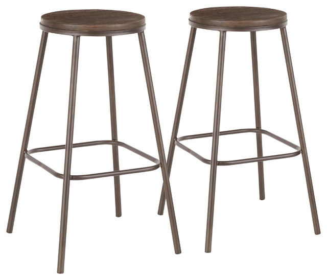 LumiSource Clara Round Barstool, Antique Metal/Espresso Bamboo, Set of 2