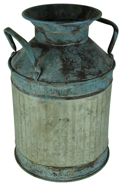 Blue Vintage Finish Ribbed Metal Milk Can Planter Farmhouse Outdoor Pots And Planters By Zeckos