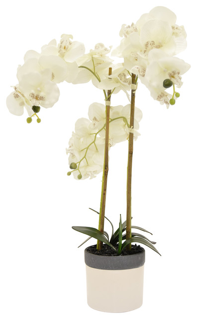 Three Hands 39264 White Faux Orchid Flower Pot