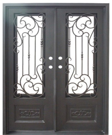 Golden Gate Double Flat Door Oil Rubbed Bronze Aquatex Glass