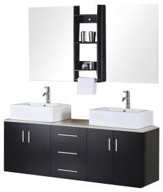 "Portland 61"" Double Sink, Wall Mount Vanity Set, Espresso."
