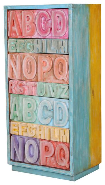 "Pastel 50"" Rainbow Abc Mango Wood 7-Drawer Dresser."