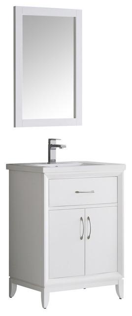 "Fresca Cambridge 24"" White Traditional Bathroom Vanity With Mirror."