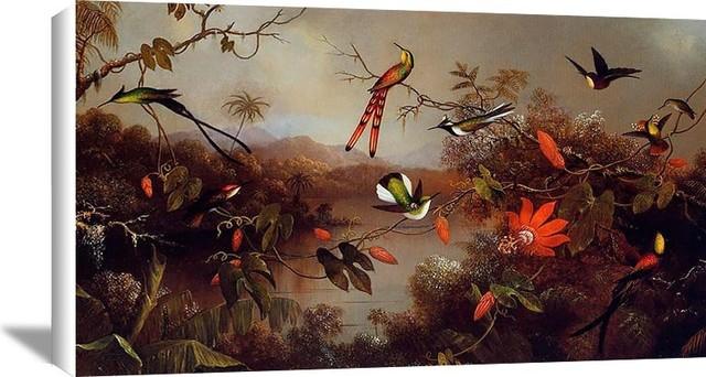 """Tropical Landscape With Ten Hummingbirds"" Art, 20""x13.38"""