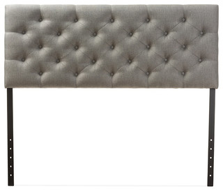 Viviana, Contemporary Gray Fabric Upholstered Button-Tufted Queen Size Headboard
