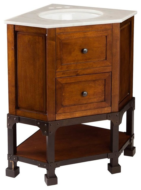 rustic corner bathroom vanity carverdale corner bath vanity cherry brown rustic 20288