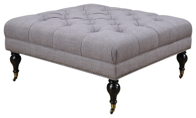 Gray Fabric Tufted Square Ottoman With Casters Nailhead