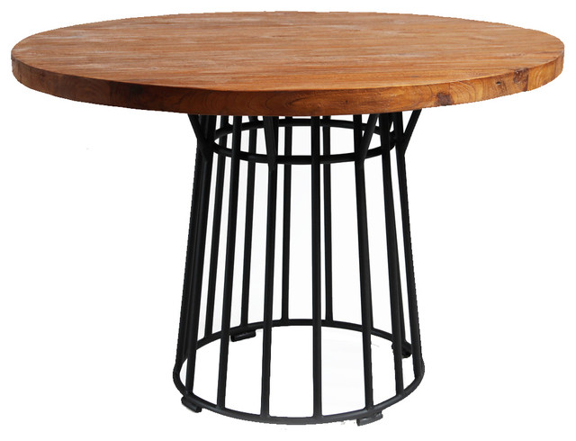 Round Teak Table With Iron Base