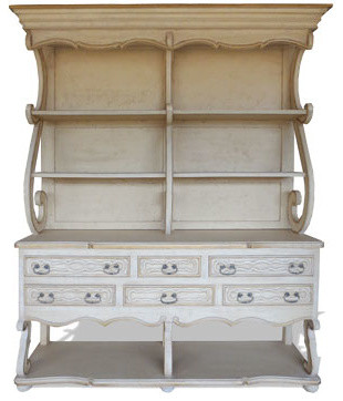 French Country Kitchen Hutch, Bone Distressed - Traditional - Storage Cabinets - by Koenig ...